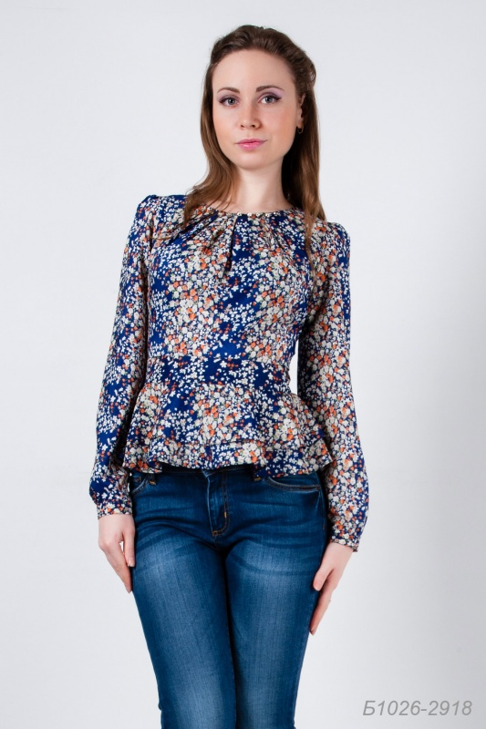Блузка Синяя Шелковая