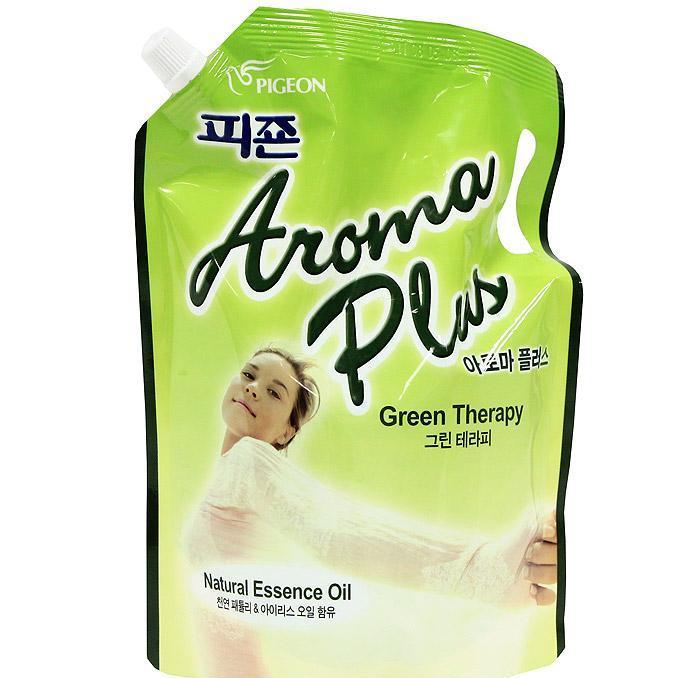 """163319 PIGEON """"Aroma Plus  Green Therapy"""" Кондиционер для белья, концентрированный, с ароматом  пачули и ириса, 1200 мл, запасной блок с крышкой"""
