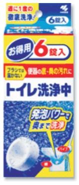 012079 KOBAYASHI Таблетки для чистки сливного отверстия унитаза, 6 шт./упак.