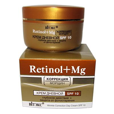 """""""Retinol+Mg"""" Корректирующий морщины крем дневной SPF10 защита от фотостарения 45 мл"""