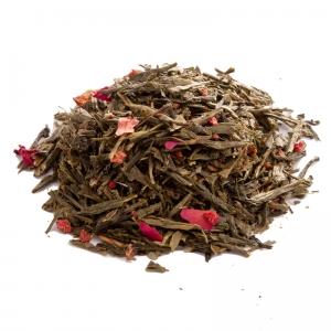 Зеленый ароматизированный чай Земляника со сливками 250 г