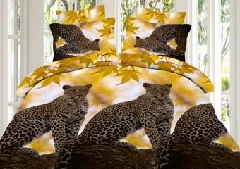 """(КПБ) из поплина 3D """"Леопард"""" 2 спальный"""