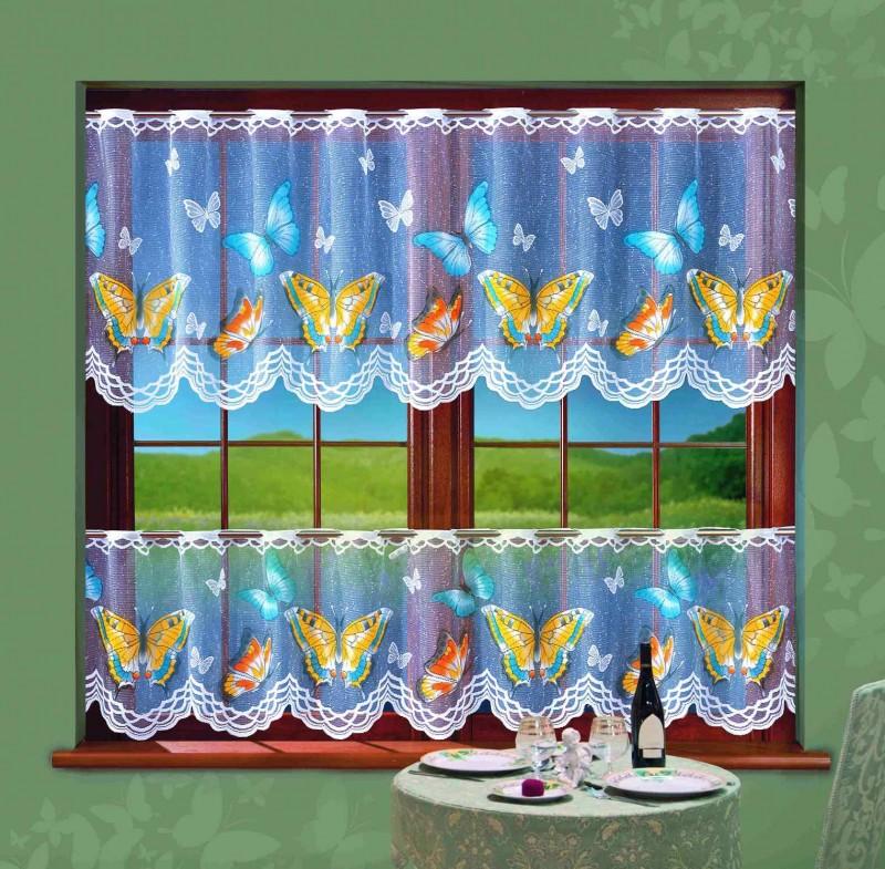 623567, КОМПЛЕКТ ДЛЯ КУХНИ, MOTYLKI (Бабочки), размеры : ширина шторок -200 см, высота верхней шторы 70 см, высота нижней шторы 50 см