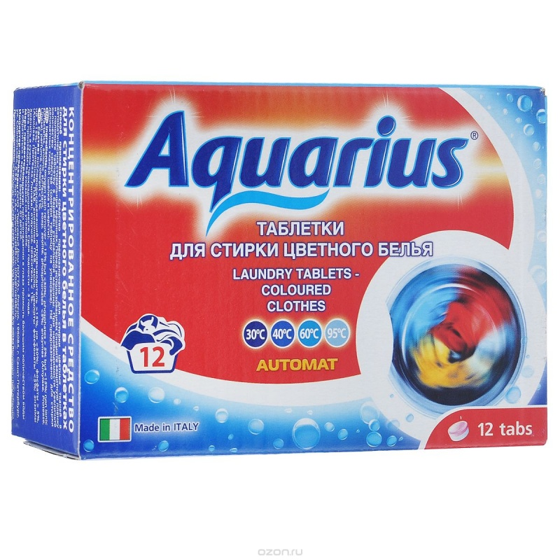 """Таблетки для стирки цветного белья """"AQUARIUS"""" Италия 12 штук"""