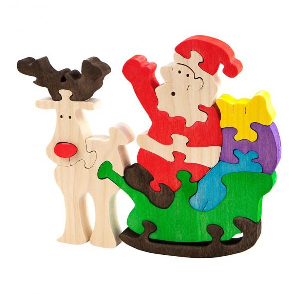 Дед Мороз с оленем (деревянный пазл)