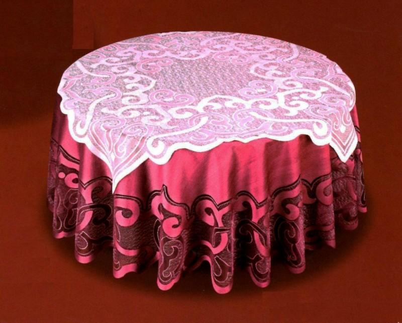 50373/160, круглая с накладкой, D=160 см, накладка 100 см * 100 см, цвет скатерти - розовое вино