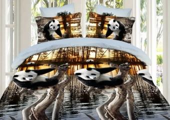 """Комплект постельного белья (КПБ) из поплина 3D \""""Панды\"""""""