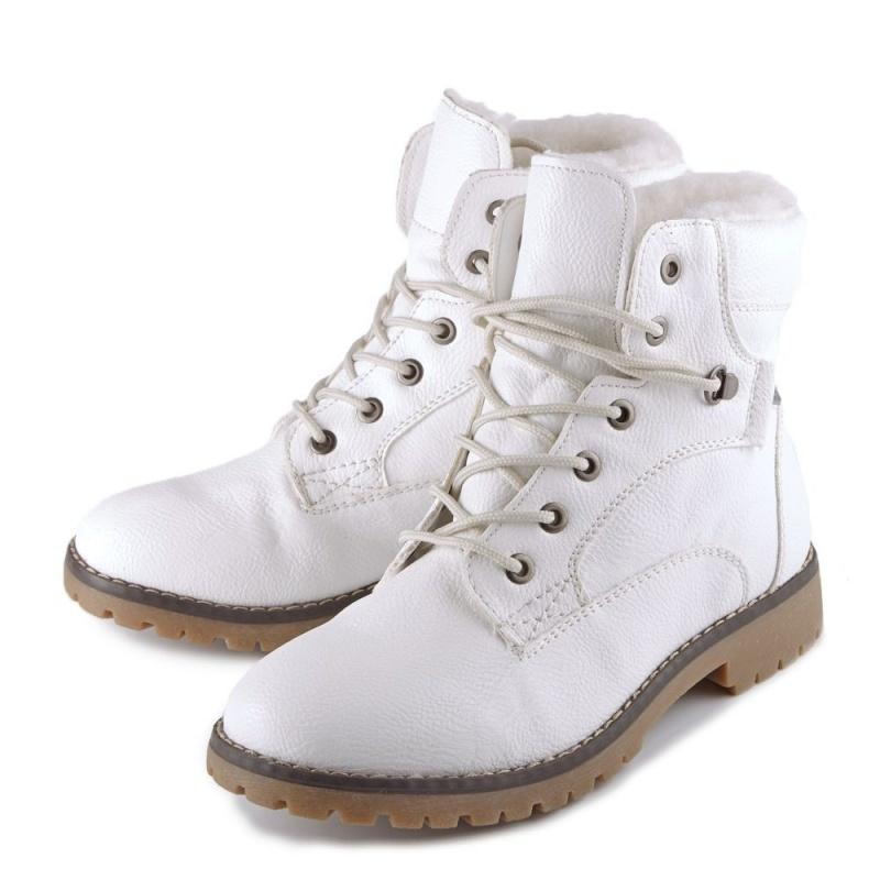 Женские белые зимние ботинки KEDDO на низком каблуке