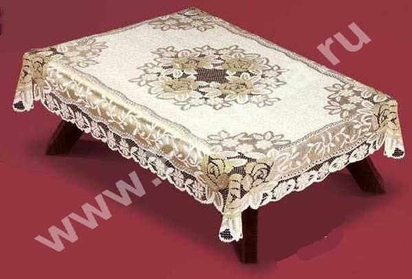 """54110/150, \""""Розы\"""", прямоугольная, размеры: 150 см Х 240 см, цвет: крем-темное золото, серебристая структура"""