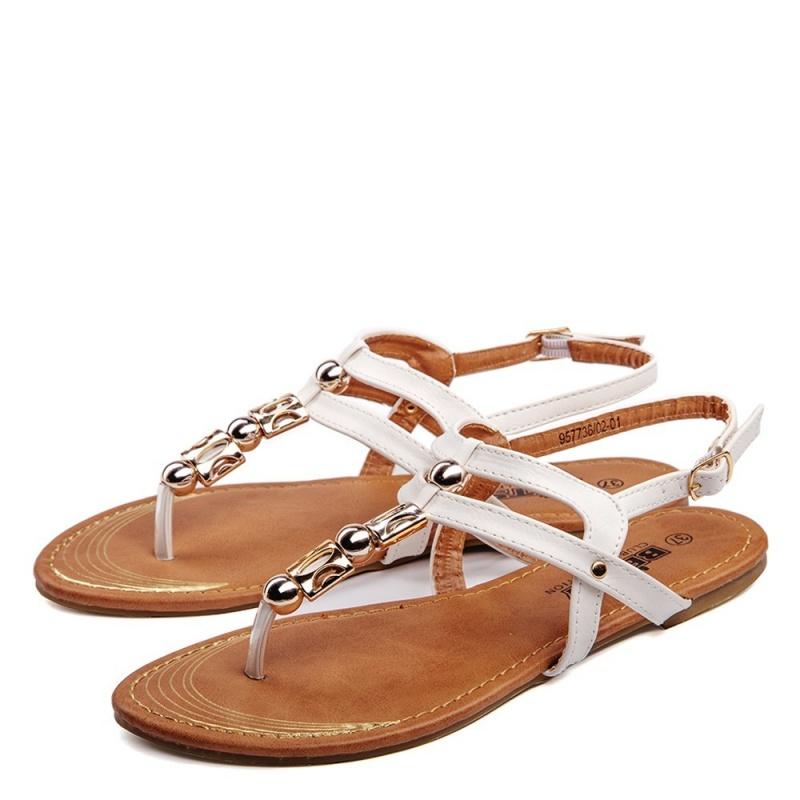 Кожаные женские сандалии BETSY белого цвета
