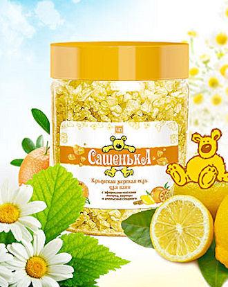 «САШЕНЬКА» — крымская морская соль для ванн для ванн с эфирными маслами лимона, апельсина, корицы 500 г