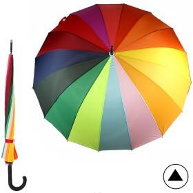 Зонт жен 06-22/70 (Радуга) , R=70см, полуавт; трость; 16спиц-сталь+fiber; полиэстер, радуга 172362