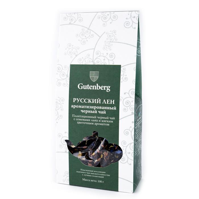 34050-101 Чай Gutenberg черный ароматизированный Русский лен, 100 г