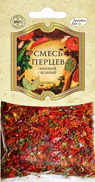 Смесь перцев 100 г (красный перец болгарский сушеный, зеленый перец болгарский сушеный)