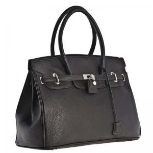 сумка 8177-Black Модель в духе легендарной сумки Hermes Birkin.