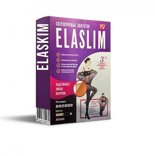 Нервущиеся капроновые колготки ELASLIM. Размер 4 - Черные