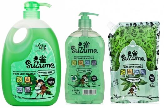 """420269 AMATORA \""""Suzume\"""" Концентрированный (1:3) гель для мытья посуды и детских принадлежностей, с дозатором, аромат зеленого чая, 1000 мл"""
