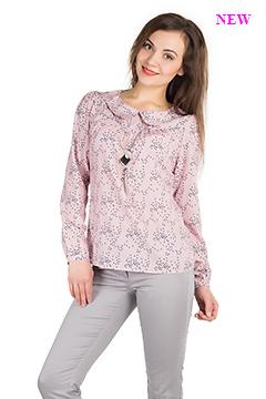 Блузка 1273 креп-шифон роз-син Сердечки