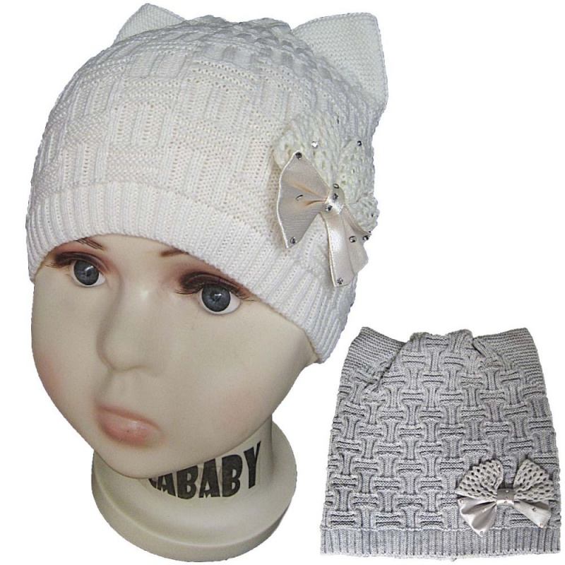зд1016-32 Шапка рельефной вязки плетенка с бантом молочная