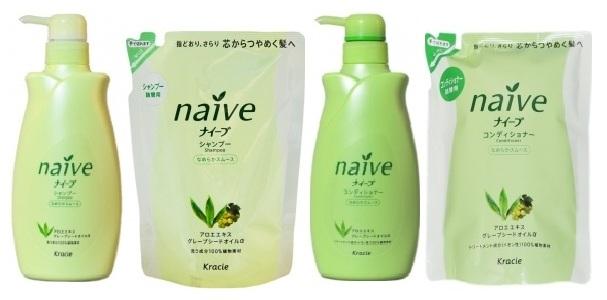 """715920 KRACIE """"Naive"""" Шампунь для нормальных волос восстанавливающий, с экстрактом алоэ и маслом виноградных косточек, 400 мл (запасной блок)"""