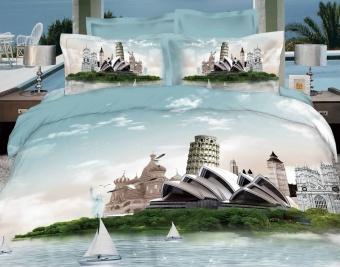 """Артикул: 445. Комплекты постельного белья (КПБ) из сатина 3D """"Чудеса света"""""""