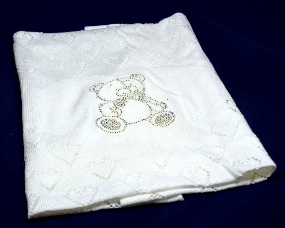 пд1001-03 Плед ажурный сердечки с рисунком из страз белый