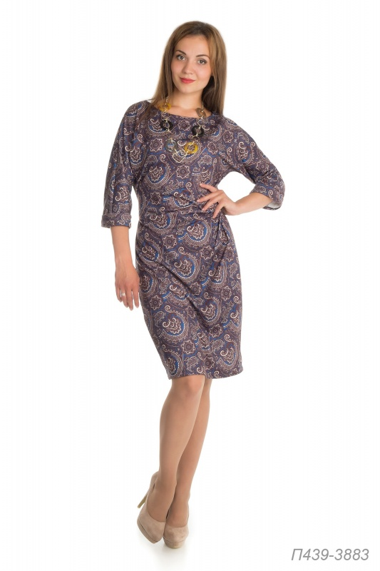 Платье 439тр-ж Лакоста сине-коричн Пейсли