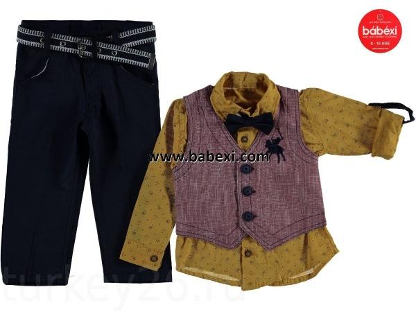 Костюм Hikon baby рубашка, брюки, бабочка, жилетка размерный ряд 80,98 см бежевый