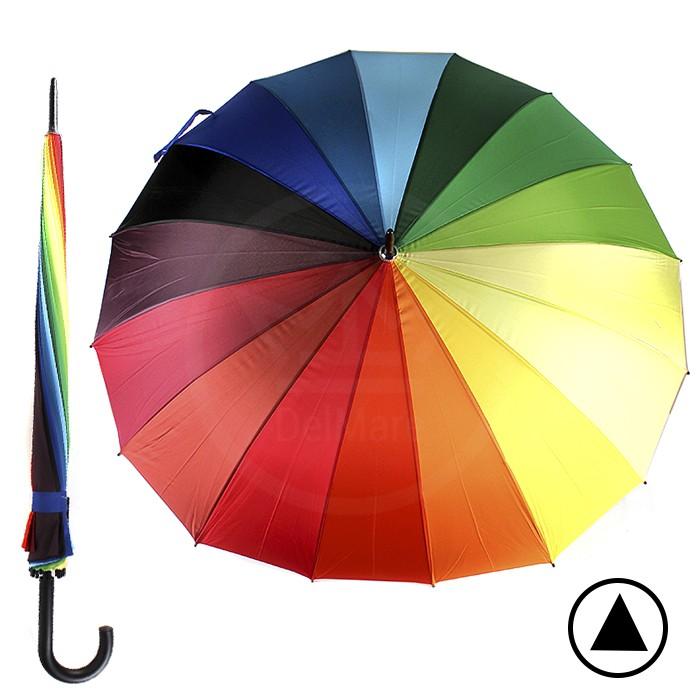 Зонт жен TR-16043, R=70см, полуавт; трость; 16спиц-сталь+fiber; полиэстер, радуга 188522