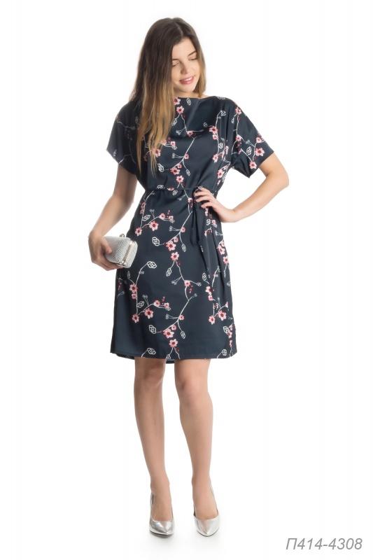 Платье 414 шелк-шифон черно-розовый Паула