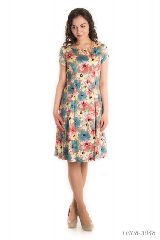 Платье 408 хлопок бежево-розовый Анемоны