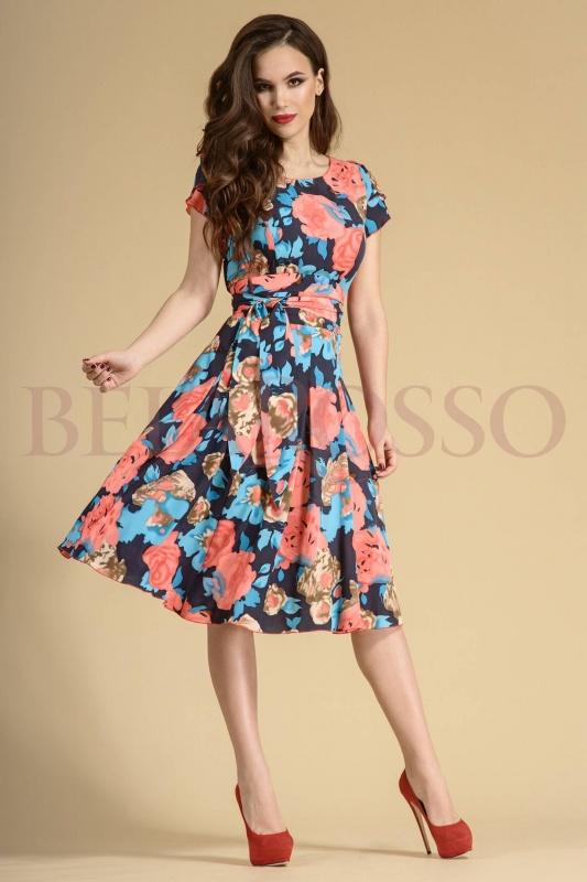 Платье Teffi style 721/1 розы на графите