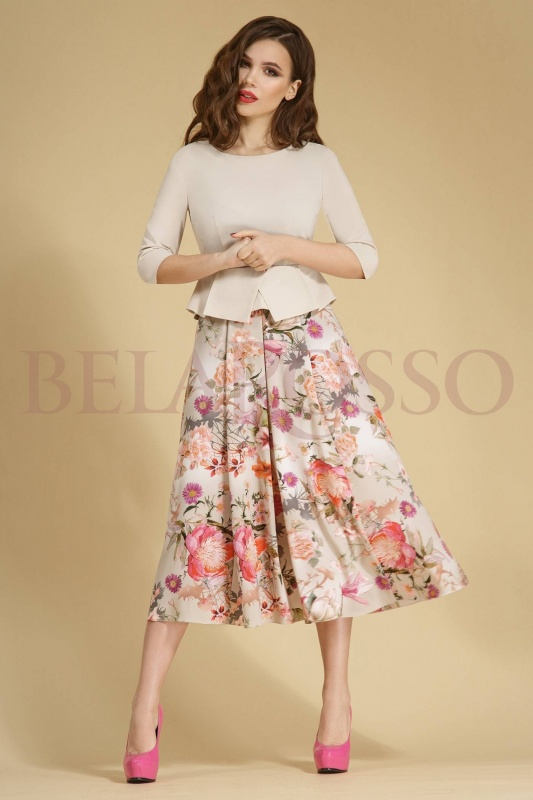 Платье Teffi style 1251/1 беж с маками
