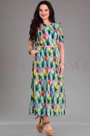 Платье Jurimex 1550 зеленый+пестрый рисунок