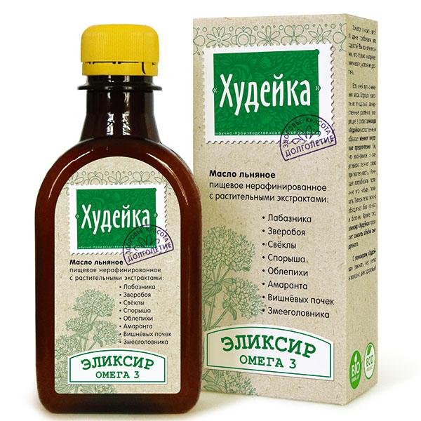 """Эликсир """"Худейка""""  0,2 л Льняное масло для похудения"""