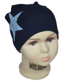 вм1093-58 шапка трикотажная конвертик одинарная Кибальчиш темно-синяя