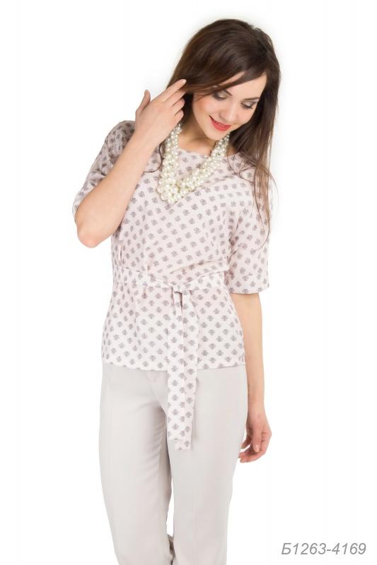 Блузка 1263 шелк пудрово-коричн Виньетка Б1263-4169