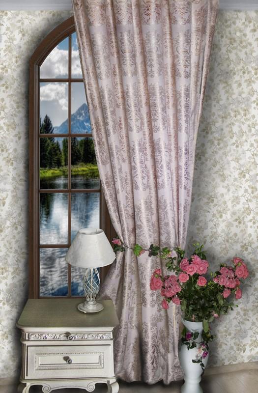 4846а-П, парча ФАБЕРЖЕ, цвет - нежно розовый с медным люрексом, ширина 185 см