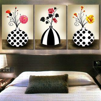 PX5123 Букеты в черно-белых вазах 40*50*3