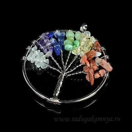 "Кулон \""Дерево Жизни\"" с крошкой самоцветов, круг 50мм"