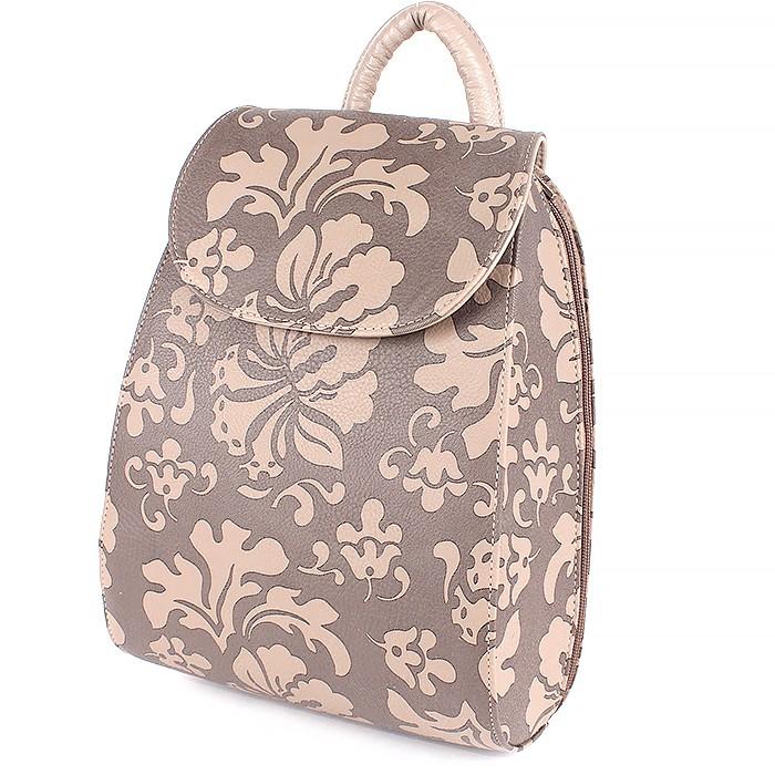 Сумка жен иск/кожа GR-1380 (рюкзак) , 1отд, 2внут карм, цветы беж 194422