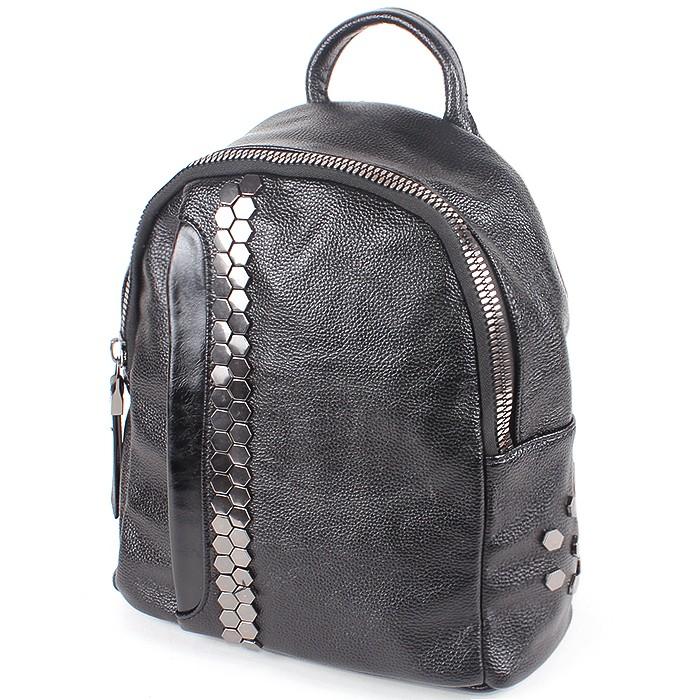 Сумка жен иск/кожа VF-531068 (рюкзак) , 1отд+карм/пер, 3внут+2внеш/карм, черный 194447