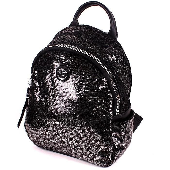 Сумка жен иск/кожа VF-531010-40 (рюкзак) , 1отд, 3внут+3внеш/карм (пайетки) черный 194454