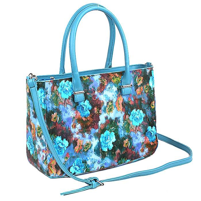 Сумка жен иск/кожа ADEL-12, 1отд+карм/пер, плеч/рем, синий+цветы БЕЗ СКИДКИ 176212