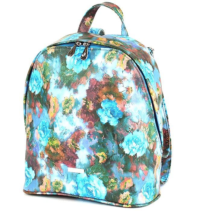 Сумка жен иск/кожа ADEL-45 (рюкзак) , 1отдел, синий цветы 187691