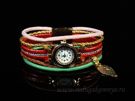 Часы-браслет на кожанном ремешке с цирконами Модель №1 цв.красный, 20см