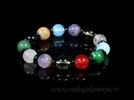 Браслет из самоцветов шарик 12мм с дисками