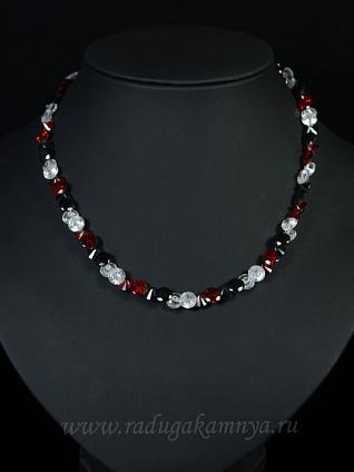 Бусы из циркона змейка цв.черный, красный, хрусталь, 43см