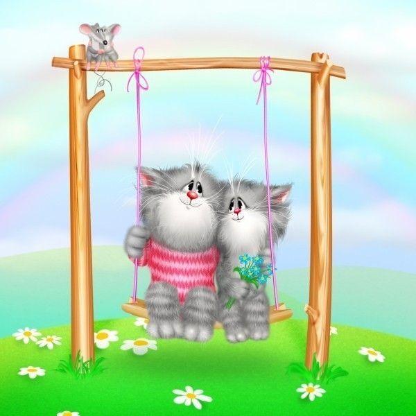 Картина по номерам M-0180 Коты на качелях 30*40 см