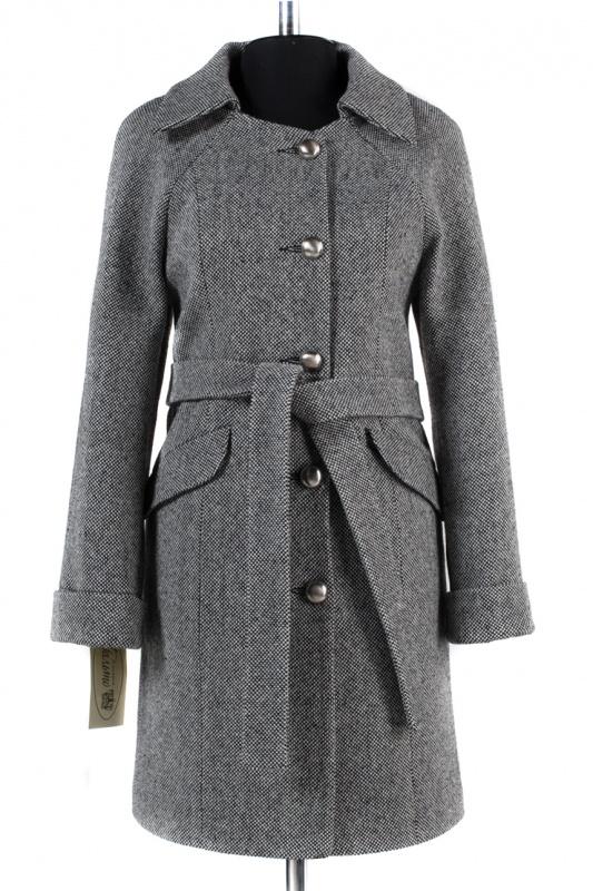 01-4619 Пальто женское демисезонное (пояс) Твид Серо-черный